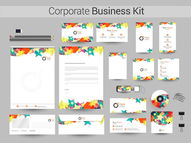 Corporate business kit met kleurrijke sterren.