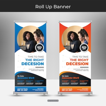 Corporate business oprollen of staan bannermalplaatje met abstract ontwerp