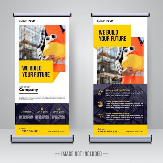 Corporate constructie rollup banner ontwerpsjabloon