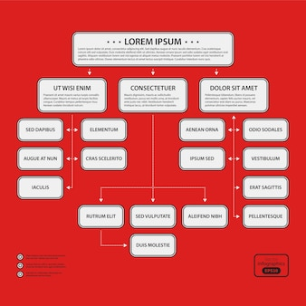 Corporate design sjabloon op rode achtergrond. zwart-witte kleuren. handig voor reclame, presentaties en webdesign.