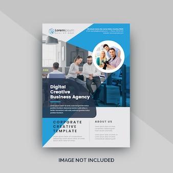 Corporate flyer met blauwe accenten