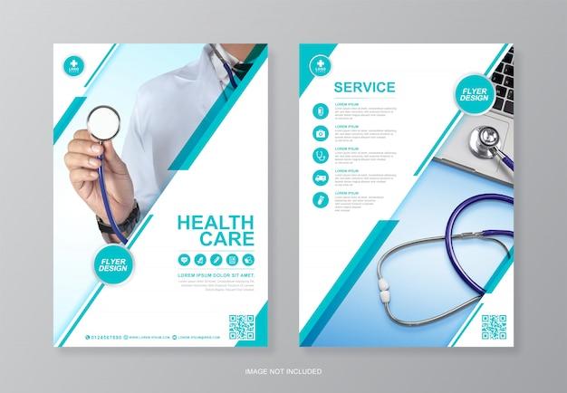 Corporate gezondheidszorg en medische dekking, a4 flyer ontwerpsjabloon achterpagina