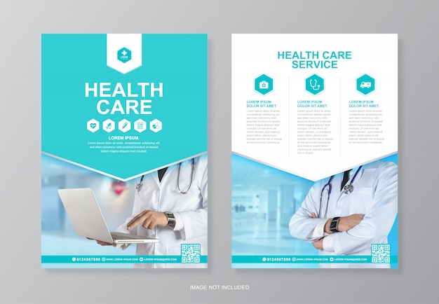 Corporate gezondheidszorg en medische pagina a4 flyer ontwerpsjabloon