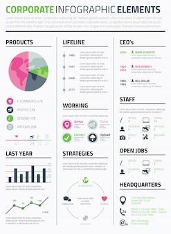 Corporate infographic resume elementen om data sjabloon vector weer te geven