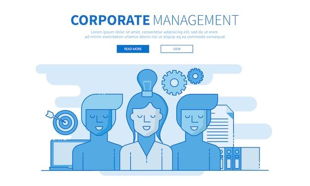 Corporate management en ontwikkelingsteam schetsen banner