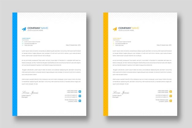Corporate modern bedrijf briefhoofd ontwerpsjabloon met blauwe en gele vormen