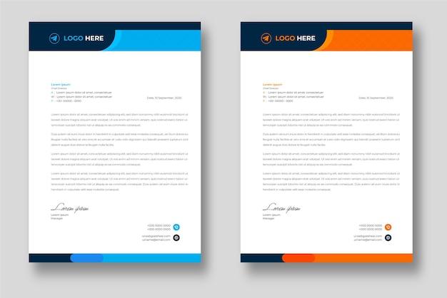 Corporate modern bedrijf briefhoofd ontwerpsjabloon met blauwe en oranje vormen