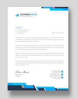 Corporate modern bedrijf briefhoofd ontwerpsjabloon met blauwe vormen