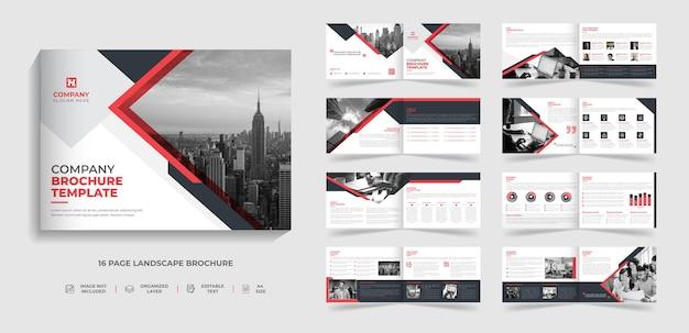 Corporate modern tweevoudig landschapsbrochure met meerdere pagina's sjabloon bedrijfsprofiel jaarverslag ontwerp