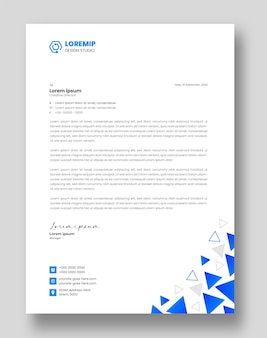 Corporate moderne zakelijke briefhoofd ontwerpsjabloon met blauwe kleur