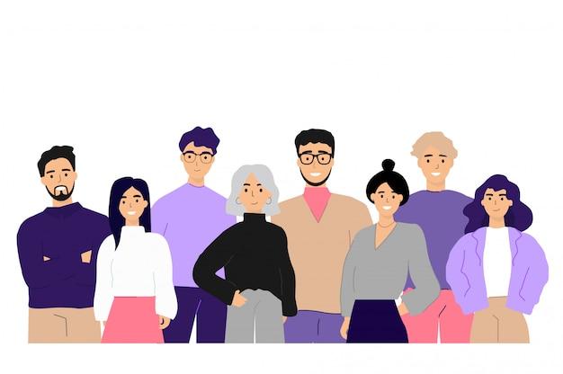 Corporate portret van kantoorpersoneel en werknemers