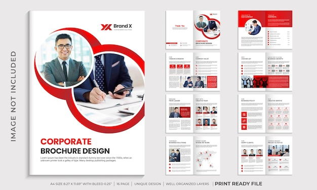 Corporate rode kleur multi pagina brochure sjabloon lay-out