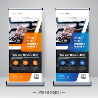 Corporate rollup of x banner sjabloon