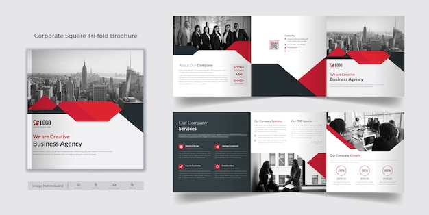 Corporate vierkante driebladige brochuremalplaatje