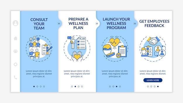 Corporate wellness succes tips onboarding-sjabloon. teamadvies. lancering welzijnsprogramma. responsieve mobiele website met pictogrammen. doorloopstapschermen voor webpagina's. rgb-kleurenconcept