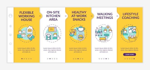 Corporate wellness voorbeelden onboarding-sjabloon. flexibel werkhuis. gezonde snacks. coachen. responsieve mobiele website met pictogrammen. doorloopstapschermen voor webpagina's. rgb-kleurenconcept