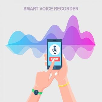 Correcte audio-gradiëntgolf van equalizer. mobiel met microfoonpictogram op scherm. mobiele telefoon-app voor digitale spraakradio-opname. muziekfrequentie in kleurenspectrum.