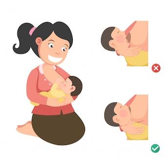 Correcte positie voor borstvoeding. illustratie