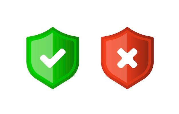 Corrigeer onjuist teken juiste en verkeerde markeringspictogramreeks groen vinkje en rood kruis plat symbool