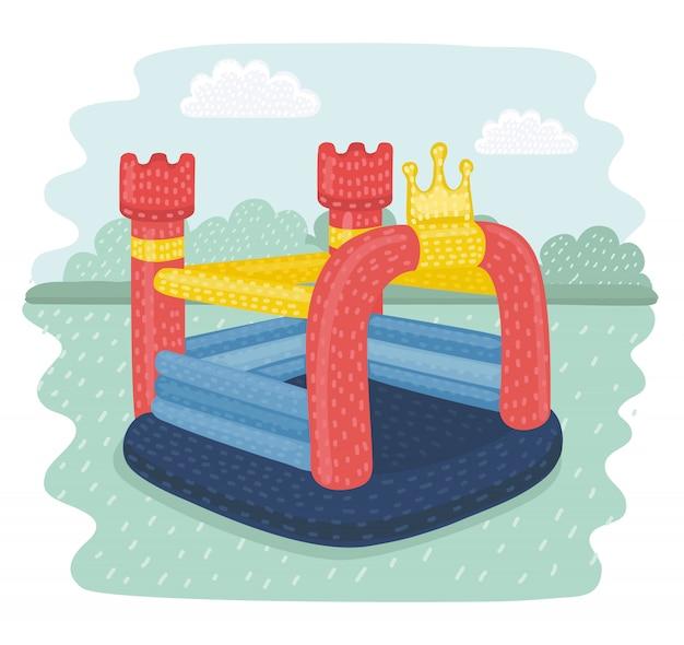 Cortoon illustratie van opblaasbare kastelen en heuvels van kinderen op de speelplaats. foto's isoleren op parklandschap.