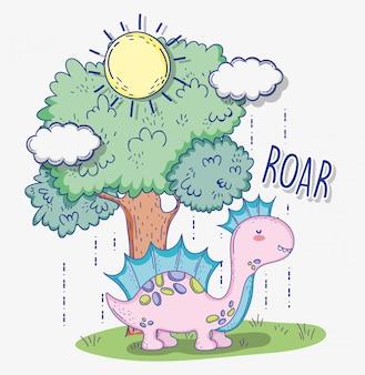 Corythosaurus dieren in het wild met boom en zon