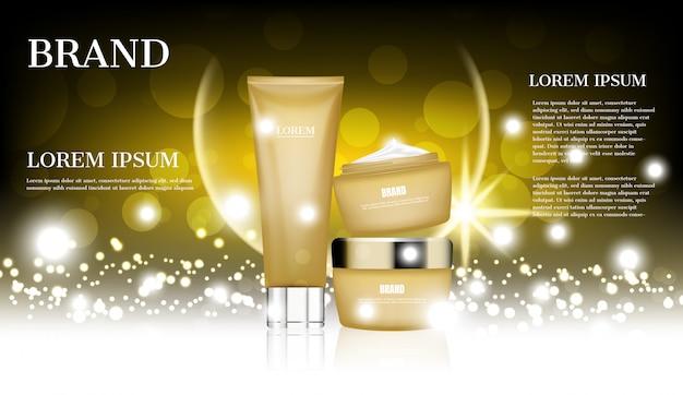 Cosmetica advertenties, gouden huidverzorging ingesteld op glitter achtergrond