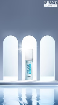 Cosmetica-flessenmodel met gebogen raam en waterachtergrond