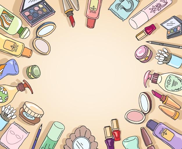 Cosmetica hand getekend bovenaanzicht frame vector. frame mode, make-up cosmetica, borstel oogschaduw hand getrokken illustratie