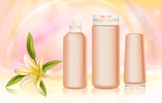 Cosmetica huidverzorging vocht, exotisch tropisch leliebloem crème product voor de gezichtshuid van het lichaam