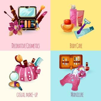 Cosmetica icons set