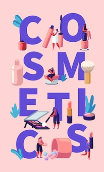 Cosmetica illustratie met make-up tools en vrouwen
