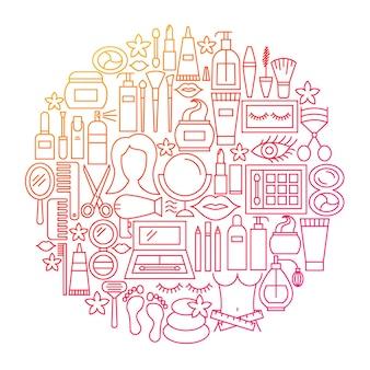 Cosmetica lijn pictogram cirkel ontwerp. vectorillustratie van schoonheidsvoorwerpen die over wit worden geïsoleerd.