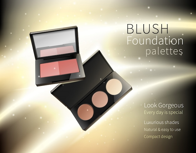 Cosmetica make-up realistische reclame samenstelling