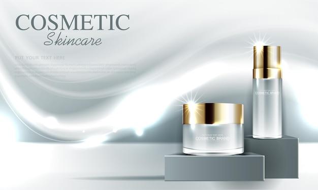 Cosmetica of huidverzorging gouden productadvertenties met fles en grijs glinsterend lichteffect op de achtergrond