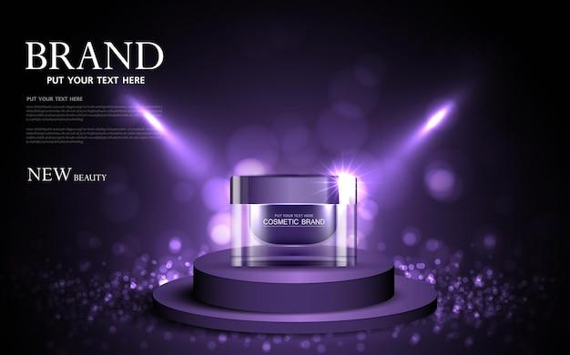 Cosmetica of huidverzorgingsproduct advertenties met fles paarse achtergrond glinsterende lichteffect vector