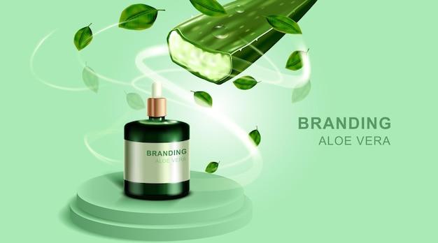 Cosmetica of huidverzorgingsproduct. fles en aloë vera met groene achtergrond.