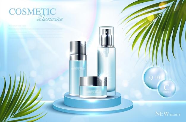 Cosmetica of huidverzorgingsproductadvertenties met fles en blauw glinsterend lichteffect op de achtergrond