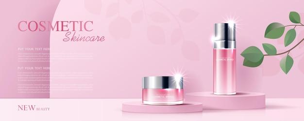 Cosmetica of huidverzorgingsproductadvertenties met flesbanneradvertentie voor schoonheidsproducten en bladachtergrond