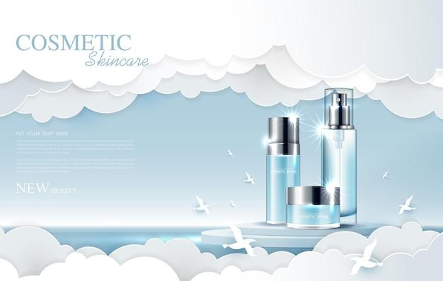 Cosmetica of huidverzorgingsproductadvertenties met flesbanneradvertentie voor schoonheidsproducten in de lucht en in de cloud