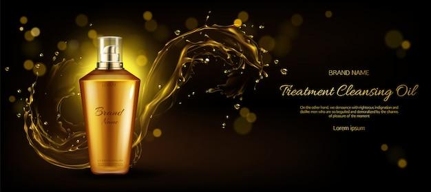 Cosmetica-olie voor het reinigen van de behandelingsfles op donker