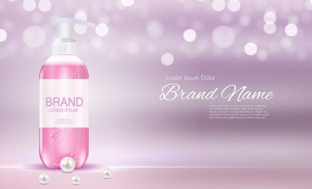 Cosmetica productsjabloon voor advertenties of tijdschriftachtergrond. antibacteriële gel, zeepfles realistische afbeelding