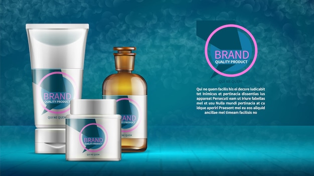 Cosmetica reclame ontwerpsjabloon met productflessen buizen