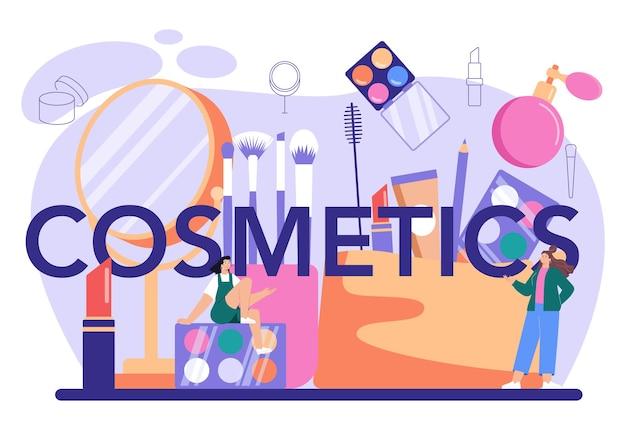 Cosmetica typografische kop. professionele kunstenaar die een schoonheidsprocedure doet, een make-up op het gezicht aanbrengt. visagiste doet make-up aan een model met een borstel. platte vectorillustratie