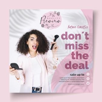 Cosmetica vierkante sjabloon folder met foto