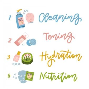 Cosmetica voor gezichtsbehandeling, vier stappen van huidverzorging.
