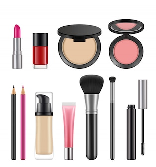 Cosmetica voor vrouwen. verschillende cosmetica pakketten
