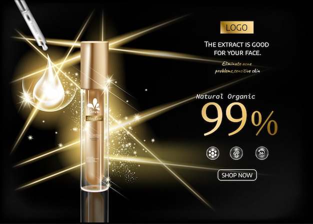 Cosmeticaproducten met gouden luxe collectie samenstelling op zwarte wazig lichteffect achtergrond