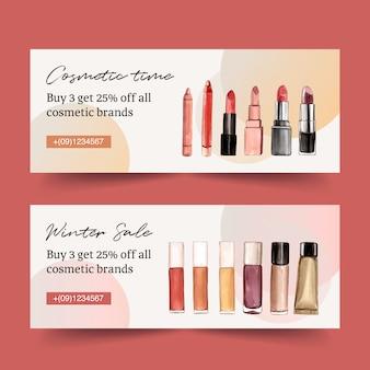 Cosmetisch bannerontwerp met verschillende lippenstiften