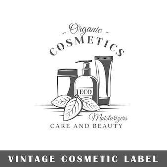 Cosmetisch etiket dat op witte achtergrond wordt geïsoleerd