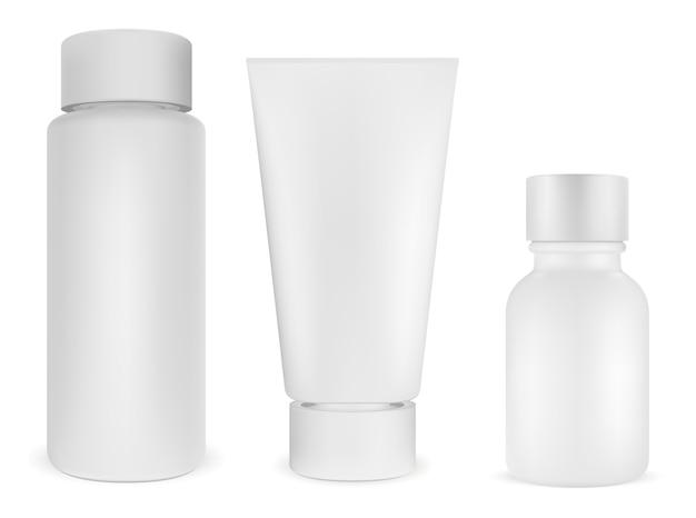 Cosmetisch flessenpakket. wit plastic product. 3d